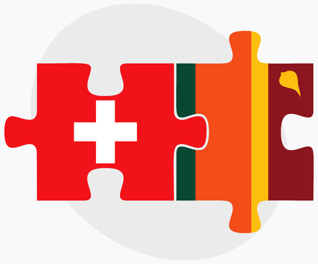 sri lankan flag: Switzerland and Sri Lanka Flags in puzzle isolated on white background Illustration