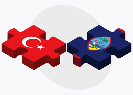 filipino: Turkey and Guam Flags in puzzle isolated on white background Illustration