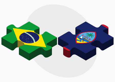 guam: Brazil and Guam Flags in puzzle isolated on white background Illustration
