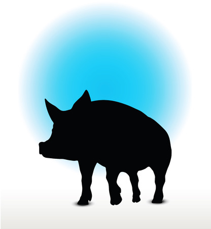 grunter: Vector Image, pig silhouette, in a walking position, isolated on white background Illustration