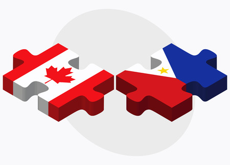 filipino: Canada and Philippines Flags in puzzle isolated on white background Illustration