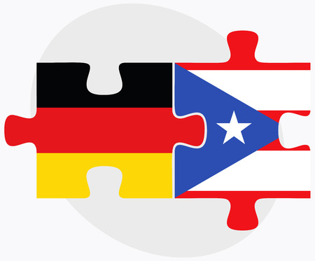 federal republic of germany: Germany and Puerto Rico Flags in puzzle isolated on white background Illustration