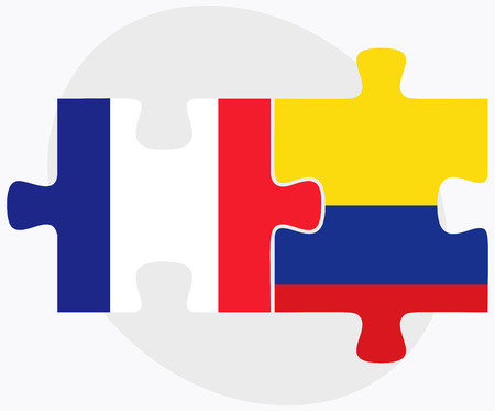 republic of colombia: France and Colombia Flags in puzzle isolated on white background Illustration