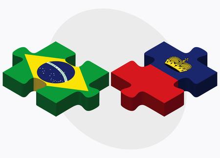 liechtenstein: Brazil and Liechtenstein Flags in puzzle isolated on white background Illustration