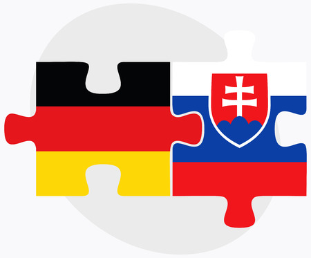 Germany and Slovakia Flags in puzzle isolated on white background