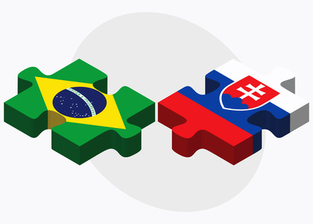 slovakian: Brazil and Slovakia Flags in puzzle isolated on white background