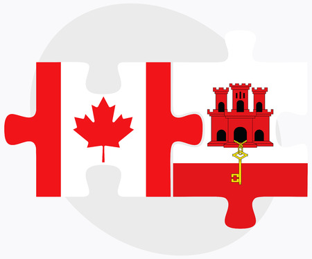 gibraltar: Canada and Gibraltar Flags in puzzle isolated on white background Illustration