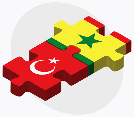 eurasian: Turkey and Senegal Flags in puzzle isolated on white background