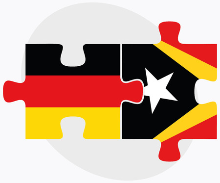 east berlin: Germany and East Timor Flags in puzzle isolated on white background