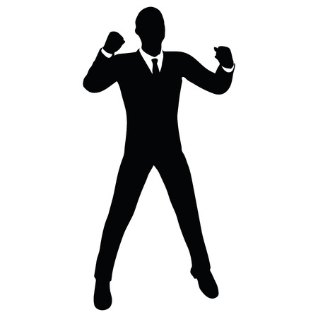 Vector Image - businessman silhouette in gorilla pose isolated on white background