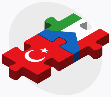 equatorial guinea: Turkey and Equatorial Guinea Flags in puzzle isolated on white background