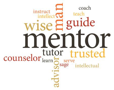 fond de texte: illustration nuages ??de mots du mot mentor