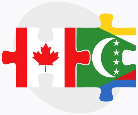 comoros: Canada and Comoros Flags in puzzle isolated on white background