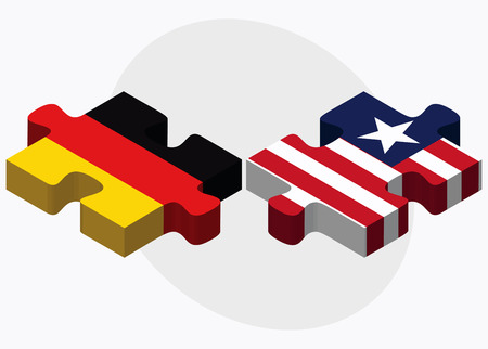 liberia: Germany and Liberia Flags in puzzle isolated on white background