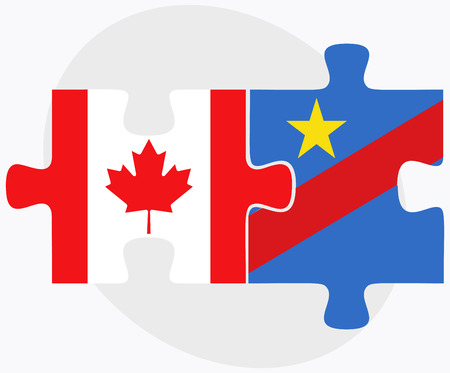 zaire: Canada and Democratic Republic Congo Flags in puzzle isolated on white background