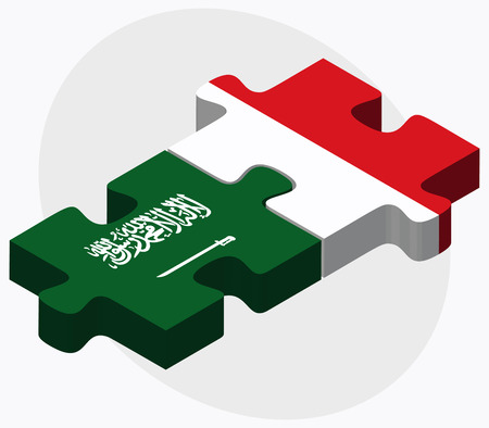 Saudi Arabia and Malta Flags in puzzle isolated on white background