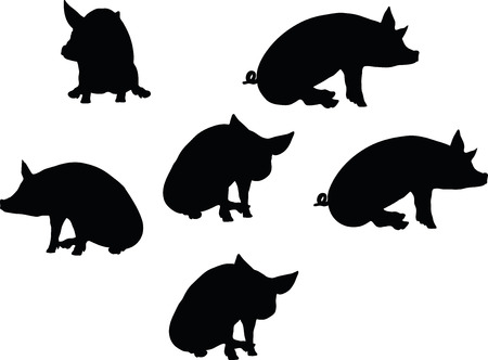 grunter: Vector Image, pig silhouette, in a seated position, isolated on white background