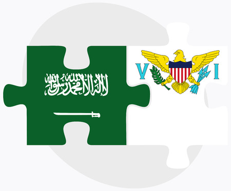 virgin islands: Saudi Arabia and Virgin Islands (U.S.) Flags in puzzle isolated on white background