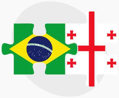 federative republic of brazil: Brazil and Georgia Flags in puzzle isolated on white background Illustration