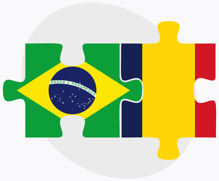 chad: Brazil and Chad Flags in puzzle  isolated on white background