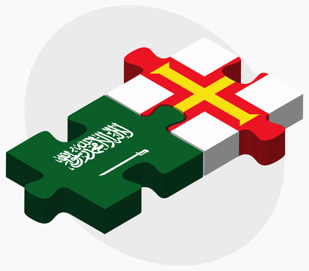bailiwick: Saudi Arabia and Guernsey Flags in puzzle isolated on white background