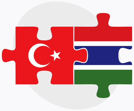eurasian: Turkey and Gambia Flags in puzzle isolated on white background