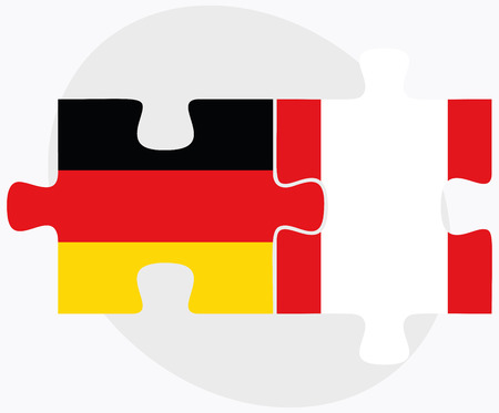 republic of peru: Germany and Peru Flags in puzzle isolated on white background