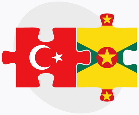 grenada: Turkey and Grenada Flags in puzzle isolated on white background