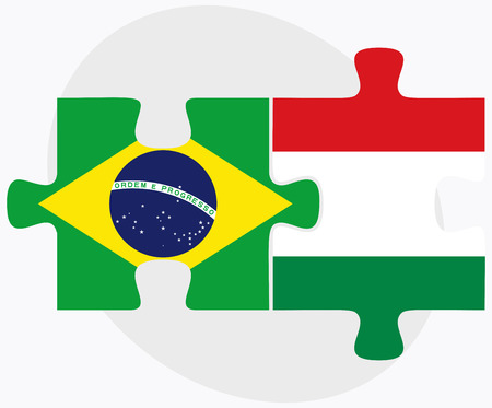 federative republic of brazil: Brazil and Hungary Flags in puzzle isolated on white background Illustration