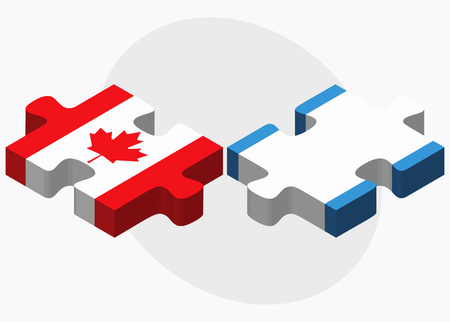 guatemalan: Canada and Guatemala Flags in puzzle isolated on white background