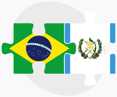 federative republic of brazil: Brazil and Guatemala Flags in puzzle isolated on white background