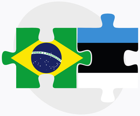 federative republic of brazil: Brazil and Estonia Flags in puzzle isolated on white background