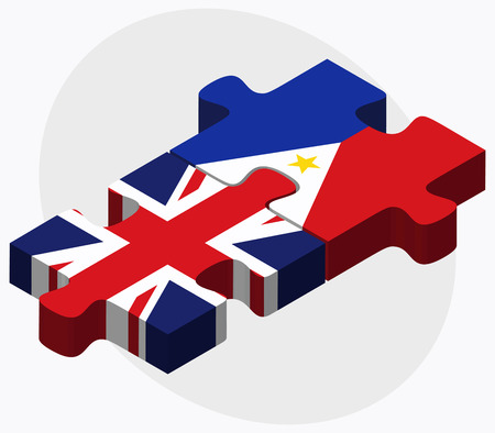 manila: United Kingdom and Philippines Flags in puzzle isolated on white background