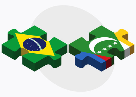 comoros: Brazil and Comoros Flags in puzzle isolated on white background