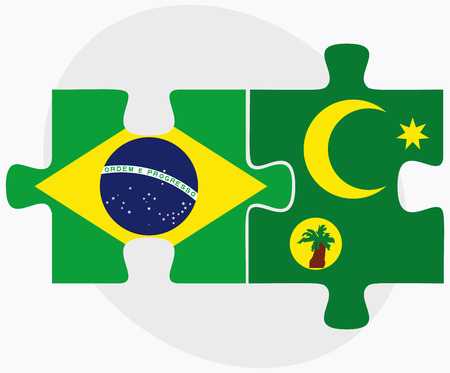 cocos: Brazil and Cocos (Keeling) Islands Flags in puzzle isolated on white background