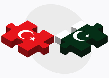 Turkey and Pakistan Flags in puzzle isolated on white background