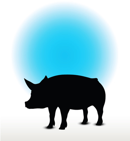 grunter: Vector Image, pig silhouette, in Curl Tail pose, isolated on white background Illustration
