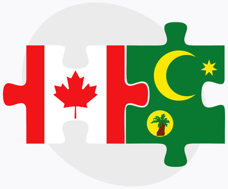 Canada and Cocos (Keeling) Islands Flags in puzzle isolated on white background Illustration