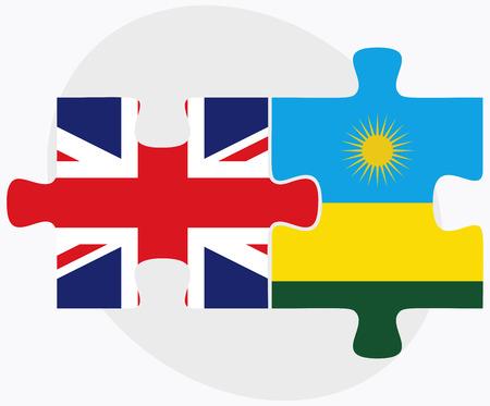 kigali: United Kingdom and Rwanda Flags in puzzle isolated on white background