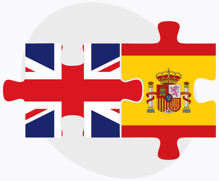 nations: United Kingdom and Spain Flags in puzzle isolated on white background