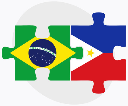 filipino: Brazil and Philippines Flags in puzzle isolated on white background Illustration