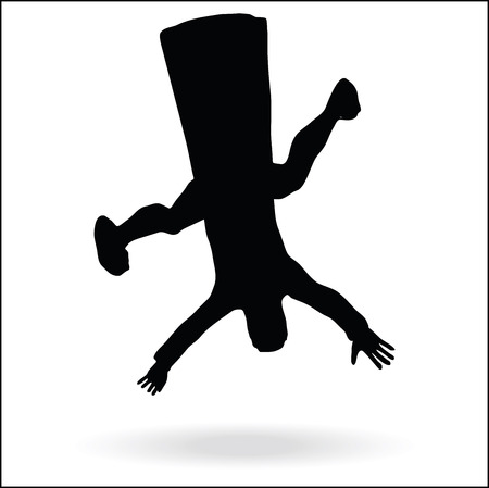 lowering: middle east style dressed man silhouette  -  in falling pose