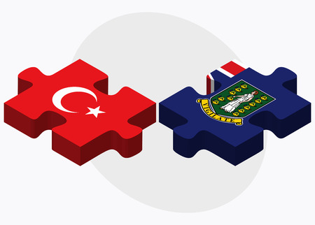 virgin islands: Turkey and Virgin Islands (British) Flags in puzzle isolated on white background