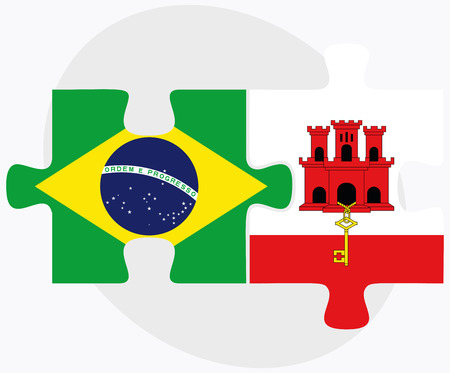 gibraltar: Brazil and Gibraltar Flags in puzzle isolated on white background