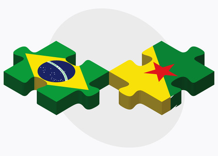 guiana: Brazil and French Guiana Flags in puzzle isolated on white background