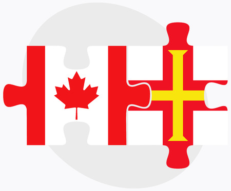 bailiwick: Canada and Guernsey Flags in puzzle isolated on white background