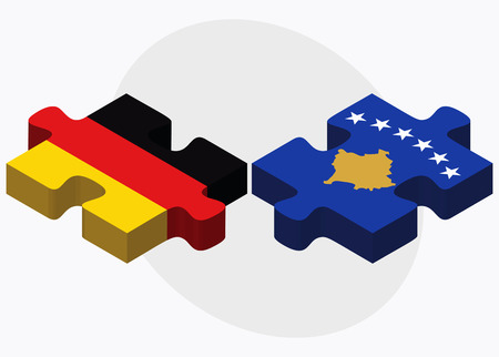 kosovo: Germany and Kosovo Flags in puzzle isolated on white background