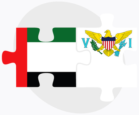 virgin islands: United Arab Emirates and Virgin Islands (U.S.) Flags in puzzle isolated on white background