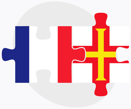 bailiwick: France and Guernsey Flags in puzzle isolated on white background Illustration