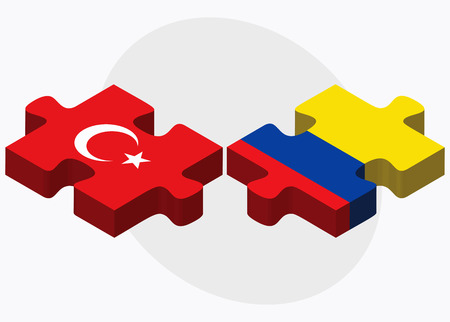 republic of ecuador: Turkey and Ecuador Flags in puzzle isolated on white background